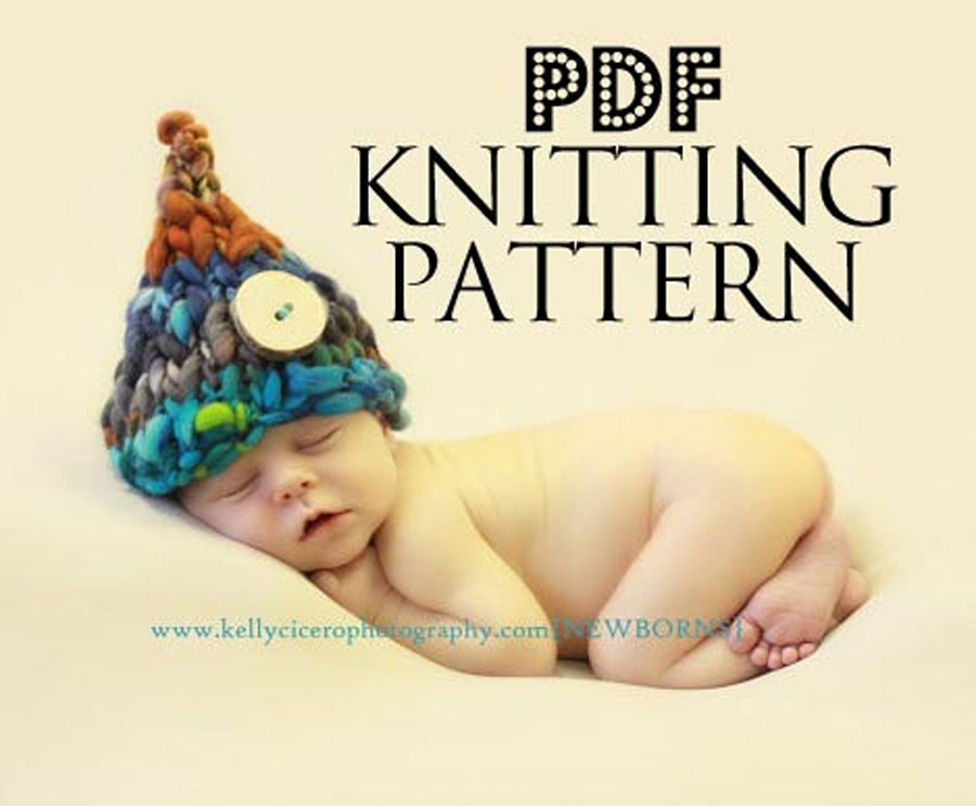 Newborn photography prop, knitting pattern, handspun yarn