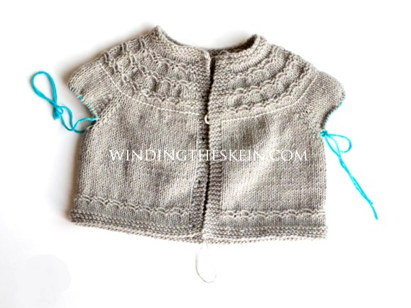 Seamless Yoked baby Sweater, knit-along, winding the skein, free pattern