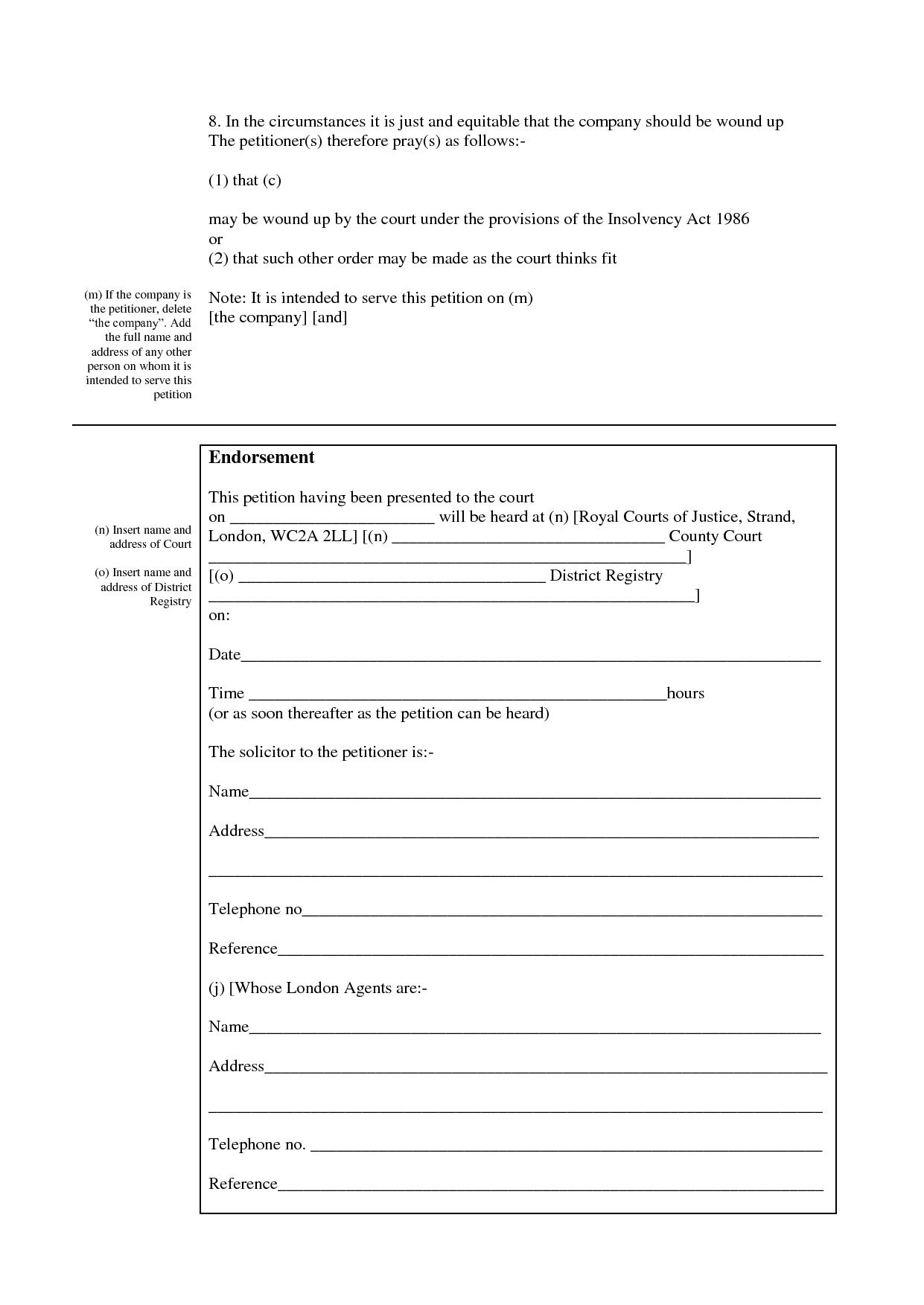 Blank Winding Up Petition Form (Download in .pdf or .doc format)