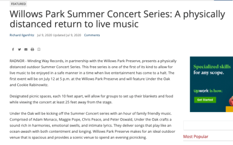 Screenshot of linked newspaper article about the Willows Park Summer Concert Series.