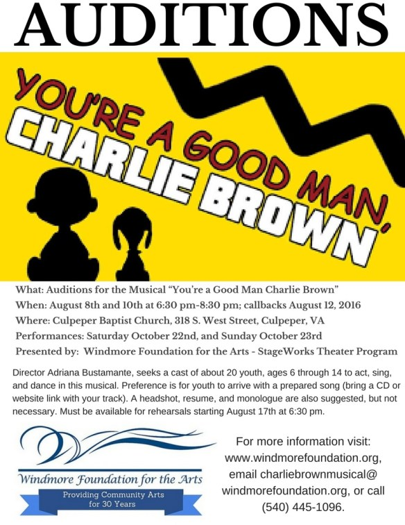 Windmore Charlie Brown Musical Audition Notice Rev 08.03.16