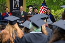 Kirstin Marsh leads the attendees at the 2013 Brenau University commencement exercises in the singing of the National Anthem.