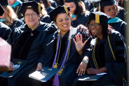 Three of Brenau's first five doctoral students, Ann Marie Peck of Gainesville, Georgia, LaChaka S. Coffee of Atlanta, Georgia, and Shelia T. Campbell of Ellenwood Georgia.