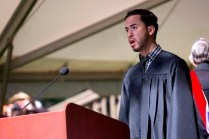 Brenau University's Gabriel Lopez of Gainesville, Georgia, sings the National Anthem during this year's undergraduate and graduate commencement ceremony.