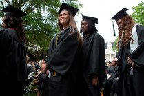 Women's College graduates in line for diplomas.