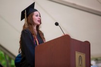 Arielle Crumley of Dahlonega, Georgia, sings the National Anthem during this year's Brenau Women's College commencement ceremony.
