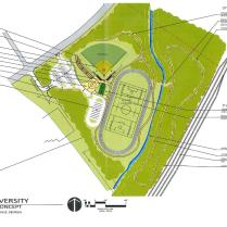 The site plan for the university's new athletic complex.