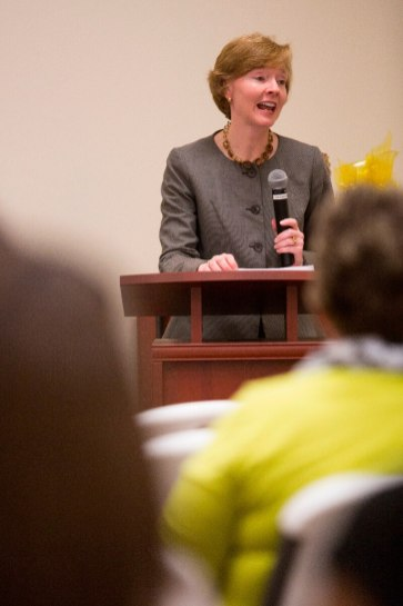 Gail Smith, a Brenau University alumna and trustee and director of environmental, sustainability, and issues management communications at Georgia-Pacific, speaks to attendees at the Women's Leadership Colloquium.