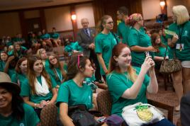 Brenau first-year students took selfies, chatted amongst themselves and took in the Cecil B. Day Chapel at the Carter Center in Atlanta before their question and answer session with former President Jimmy Carter about his book A Call to Action.