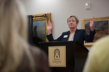 Gale Starich, dean of Brenau's school of health and sciences, greets the first eight students to the schools first occupational therapy doctoral program.