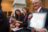 From right, Ed Schrader, president of Brenau University, Andrea Birch, dean of the arts and humanities, and Nichole Rawlings, galleries director, were on hand to receive the Governor's Awards for the Arts and Humanities at the Georgia Capitol.