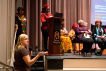 Dr. Heather Hollimon, associate professor of political science at Brenau, encourages other faculty members to ask questions during a visit from the Nigerian Quintessential Business Women Association.