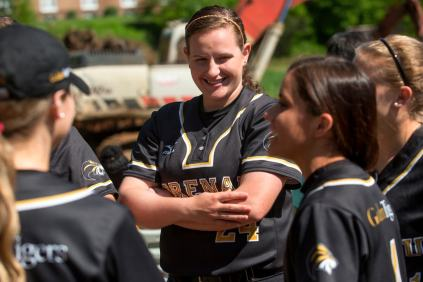 Elizabeth Schneider, a member of the Golden Tigers Softball Team, smiles alongside her teammates druing a lunch hosted for the Brenau student athletes at the site of the new Ernest Ledford Grindle Athletics Park, Brenau University's new athletic complex, that will serve the softball, soccer and track and field teams.