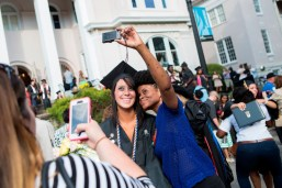 Kelly Allen, left, poses for a selfie with her coworker and friends Menika Marshall after the 2015 Brenau Women's College Commencement where Allen graduated with a Bachelor of Science in Nursing.