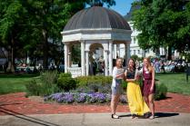 Golden Tigers tennis players Snezhana Kiseleva, Patricia Recalde Pacua and Paula Rives Palau helped pass out programs during the 2015 Women's College Commencement.