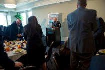 Gov. Nathan Deal receives applause during the Atlanta Press Club lunch Wednesday, April 29.