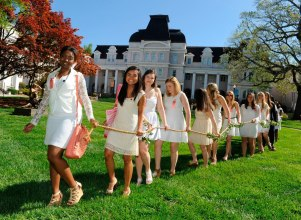 Students head to the Crows Nest during May Day celebrations Saturday, April 11, 2015 in Gainesville, Georgia. (Photo Barry Williams / Brenau University)