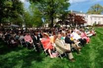 Audience members watch the May Day and Alumnae Awards Ceremony on the Front Lawn Saturday, April 11, 2015 in Gainesville, Georgia. (Photo Barry Williams / Brenau University)