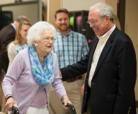 John R. Cleveland, right, and Mary Cleveland walk though a lab that their donation helped equip during the celebration to honor the dedication of The Cleveland Physical Therapy Lobby at the Brenau Downtown Center on Friday, July 3, 2015, in Gainesville, Georgia. (AJ Reynolds for Brenau University)