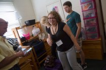 Amber Urso, a music performance first-year student at Brenau, laughs with her family as she moves into her dorm room. Urso said she's wanted to come to Brenau since she was in the seventh grade and participated in an honors chorus performance at the school.
