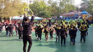 Morning exercises at the Anhui Normal University Affiliated Kindergarten.