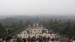The mausoleum of Dr. Sun Yat Sen is an important cultural destination in Nanjing. This view is from the main building at the top of Mount Zinjin (Purple Mountain). There were thousands of visitors at the mausoleum and the adjoining park that day. Dr. Williams got many requests to pose for photographs with strangers along the staircase.