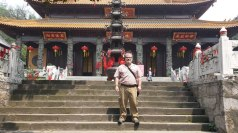 One of my students took this photo of me on a visit to Guangji monastery, with its 1100 year-old temple complex. The temple was quite popular with visitors, many of whom came to offer a token such as a ribbon as a tribute to their ancestors.
