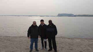 This photo shows Dr. Williams and myself along with one of our students, Wu, from Anhui Normal University. We were standing on a sandbar in the Yangtze River next to Tianmen Mountain just north of Wuhu. One of the most delightful surprises of my visit to China was the hospitality and genuine good fellowship shown to us by our Chinese hosts. Without the help of my English-speaking students like Wu, life would have been quite a challenge.