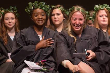 Senior students Emily Lemons, Anna-Marie Jordan, Alexandra Brock, MK and Kierstyn Hammet on stage during Class Day during the Brenau University Alumnae Reunion Weekend on Saturday, April 16, 2016, in Gainesville, Ga. (AJ Reynolds/Brenau University)