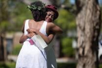 Kenya Hunter, a mass communications major, right, hugs Nia Odiase, a biology major, after Class Day during the Brenau University Alumnae Reunion Weekend on Saturday, April 16, 2016, in Gainesville, Ga. (AJ Reynolds/Brenau University)