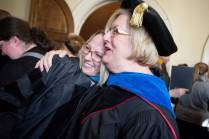 Dr. Sara Propes, Occupational Therapy Doctorate, laughs with Dr. Barbara Schell, director of the School of Occupational Therapy and associate dean of the College of Health Sciences, after the Brenau University College of Health Sciences Graduate Hooding Ceremony on Thursday, May 5, 2016. (AJ Reynolds/Brenau University)