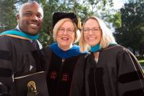 Dr. Sara Propes, Occupational Therapy Doctorate, and Dr. Allen Patmon, Occuptional Therapy Doctorate, pose for a photo with Dr. Barbara Schell, director of the School of Occupational Therapy and associate dean of the College of Health Sciences, after the Brenau University College of Health Sciences Graduate Hooding Ceremony on Thursday, May 5, 2016. (AJ Reynolds/Brenau University)during the Brenau University College of Health Sciences Graduate Hooding Ceremony on Thursday, May 5, 2016. (AJ Reynolds/Brenau University)