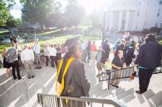 Margie Gill stands outside after the Brenau University College of Health Sciences Graduate Hooding Ceremony on Thursday, May 5, 2016. (AJ Reynolds/Brenau University)