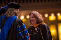 Leah Kemple smiles after being hooded for a Master of Science in Applied Gerontology during the Brenau University College of Health Sciences Graduate Hooding Ceremony on Thursday, May 5, 2016. (AJ Reynolds/Brenau University)