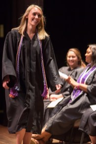Kelley Reeves walks across the stage to receive an award during the Brenau University School of Nursing Pinning Ceremony on Thursday, May 5, 2016 in Pearce Auditorium in Gainesville, Ga. (AJ Reynolds/Brenau University)