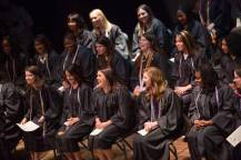 Students laugh on stage during the Brenau University School of Nursing Pinning Ceremony on Thursday, May 5, 2016 in Pearce Auditorium in Gainesville, Ga. (AJ Reynolds/Brenau University)