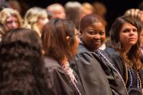 Shimi Barry on stage after being pinned during the Brenau University School of Nursing Pinning Ceremony on Thursday, May 5, 2016 in Pearce Auditorium in Gainesville, Ga. (AJ Reynolds/Brenau University)