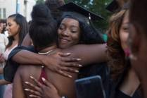 Nichele Nibbs, WC '16, gets a hug after The Women's College Commencement on Friday, May 6, 2016, in Gainesville, Ga. (AJ Reynolds/Brenau University)