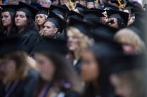 Graduates listen to the commencement address during The Women's College Commencement on Friday, May 6, 2016, in Gainesville, Ga. (AJ Reynolds/Brenau University)