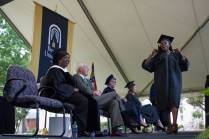 Lammy Sokunbi, WC '16, cheers while walking across the stage to receive her degree during The Women's College Commencement on Friday, May 6, 2016, in Gainesville, Ga. (AJ Reynolds/Brenau University)