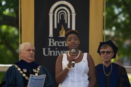 Anna-Marie Jordan, a music major, sings during The Women's College commencement on Friday, May 6, 2016, in Gainesville, Ga. (AJ Reynolds/Brenau University)