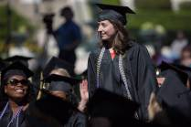 Lauren Gooch, WC '16, walks to the stage as a co-winner of the Cora Anderson Hill Academic Award during The Women's College commencement on Friday, May 6, 2016, in Gainesville, Ga. (AJ Reynolds/Brenau University)