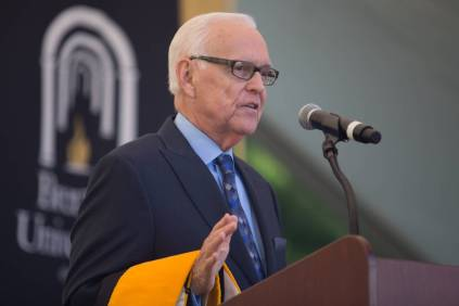John S. Burd, former Brenau President, speaks afer receiving an honorary degree during The Women's College commencement on Friday, May 6, 2016, in Gainesville, Ga. (AJ Reynolds/Brenau University)