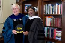 Brenau President Ed Schrader poses for a photo with Annie B. Andrews, retired Rear Admiral in the United States Navy and Assistant Administrator for Human Resources Management with the Federal Aviation Administration, during The Women's College commencement on Friday, May 6, 2016, in Gainesville, Ga. (AJ Reynolds/Brenau University)