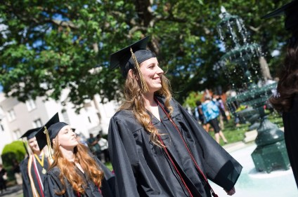 Olivia Varnson, WC '16, takes part in the Processional during The Women's College commencement on Friday, May 6, 2016, in Gainesville, Ga. (AJ Reynolds/Brenau University)