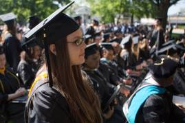 Nicole Alteri-Synan, a psychology graduate, prepares to get her diploma during the Brenau University Undergraduate and Graduate Commencement on Saturday, May 7, 2016, in Gainesville, Ga. (AJ Reynolds/Brenau University)