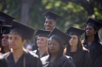 Christian Morris, a theater major, BU '16, center, stands during the Brenau University Undergraduate and Graduate Commencement on Saturday, May 7, 2016, in Gainesville, Ga. (AJ Reynolds/Brenau University)