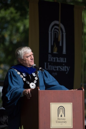 Brenau President Ed Schrader speaks during the Brenau University Undergraduate and Graduate Commencement on Saturday, May 7, 2016, in Gainesville, Ga. (AJ Reynolds/Brenau University)