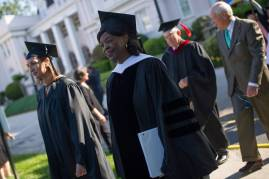 Annie B. Andrews, retired Rear Admiral in the United States Navy and Assistant Administrator for Human Resources Management with the Federal Aviation Administration, takes part in the processional during the Brenau University Undergraduate and Graduate Commencement on Saturday, May 7, 2016, in Gainesville, Ga. (AJ Reynolds/Brenau University)