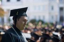 Taylor Morgan, BU '16, walks off stage after getting his diploma during the Brenau University Undergraduate and Graduate Commencement on Saturday, May 7, 2016, in Gainesville, Ga. (AJ Reynolds/Brenau University)